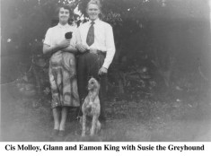 Cis Molloy, Glann and Eamon King with greyhound Susie