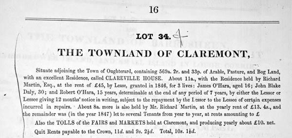 Auction notice c.1851. Martin estate, Clareville House