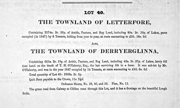Auction notice c.1851. Martin estate. Letterfore and Derryerglinna