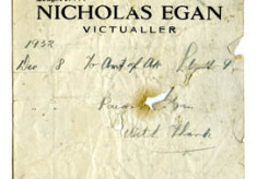 Shop receipt Nicholas Egan 1932. Thomas Lyons, Tullaboy