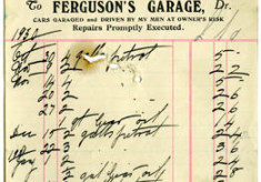 Shop receipt Ferguson's Garage 1931. Thomas Lyons, Tullaboy