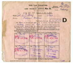 Land Commission purchase account for Thomas Melia, Derrylaura