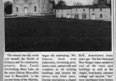 Press cutting 1991. Ross castle, Roscahill