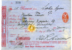 Rent receipt 1907. Sophia Lyons, Tullaboy