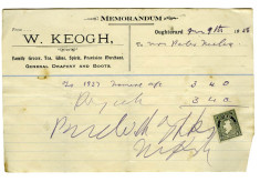 Shop receipt, W. Keogh. Peter Melia, Derrylaura 1928