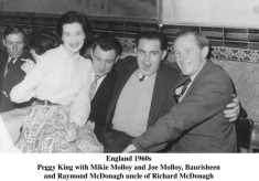 Peggy King., Mikie and Joe Molloy, Baurisheen. Raymond McDonagh. England