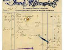 Shop receipt Frank McDonagh 1916. Thomas Lyons, Tullaboy