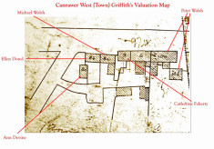 Griffith's Valuation map c.1850. Detail Canrawer West, Bridge Street