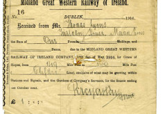 Midland Great Western Railway rent receipt 1916. Thomas Lyons, Tullaboy