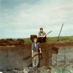 Tommy and Matt Thornton at the bog towards Glengowla. 1976 | Paul Finnegan