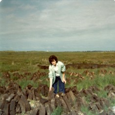 Ellen Finnegan at the bog towards Glengowla. 1976 | Paul Finnegan
