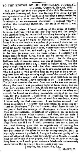 Martin - 1832 - Letter of Rev. Richard Martin - Clareville re alleged assault | Irish Newspaper Archives