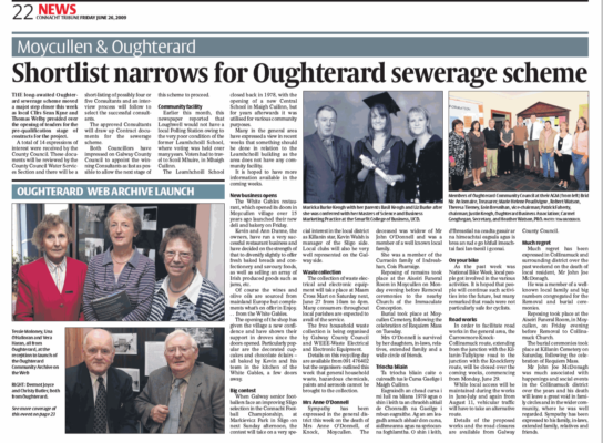 Launch of Oughterard Heritage Community Archiving Project, found in The Connacht Tribune 2009