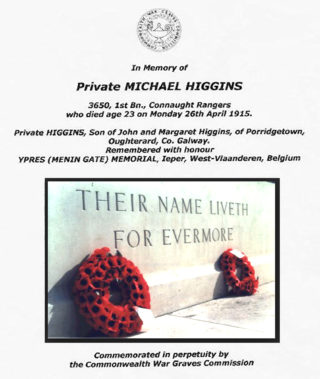 Remembering Men from Oughterard who Died in W.W.1.