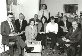 L to R :  Tony Gill, Paddy Geoghegan, Gerry Gibbons, Frank O'Halloran, Sean Higgins, Ann Marie Gibbons,