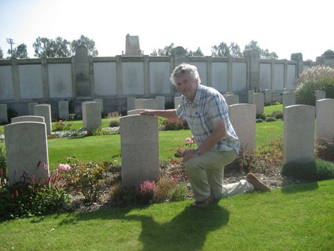 Leslie Lyons at the grave of his uncle, Albert, St. Sever Cemetery, Rouen, France