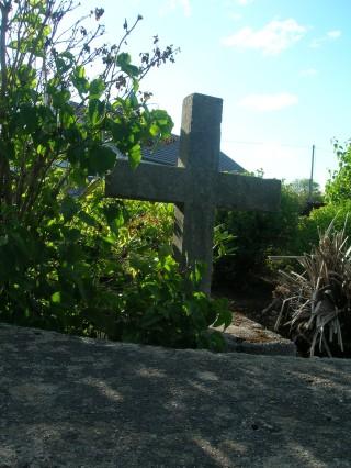 Concrete cross in memory of Robin Martin