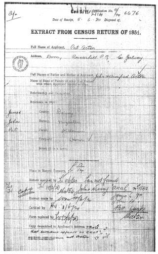 Pat Acton. Pension Application. 1920