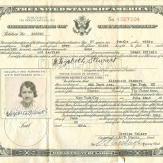Elizabeths citizenship papers. 1936