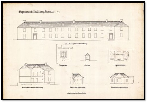 A document (dated 1879) showing mulitple views of the main building and guard's room of British Military Barracks at Oughterard