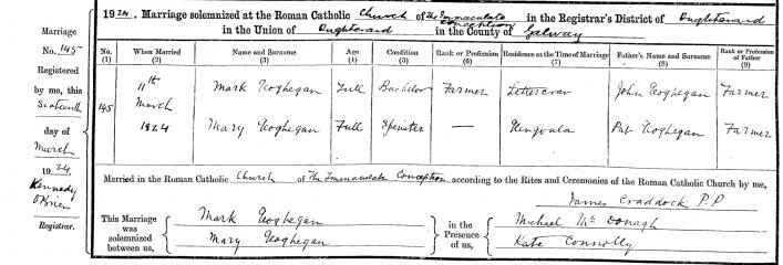 Marriage record of Mark Geoghegan & Mary Geoghegan 1924