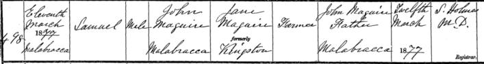 Birth record of Sam Maguire | Irish Genealogy.ie Website