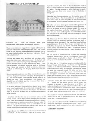 Oughterard Newsletter. Memories of Lemonfield House, by Kathleen Maloney
