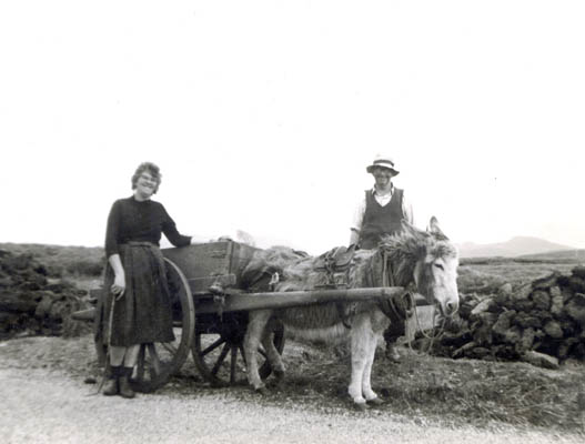 Two People with Donkey and Cart