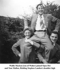 Wally Macken , son of the writer Walter, Tommy Mallon, holding Stephen lambert shoulder high