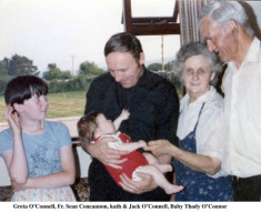 Greta O'Connell, Fr. Sean Concannon, Kath and Jack O'Connell with baby Thady O'Connor