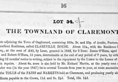 Auction notice c.1851. Martin estate, Clareville House