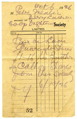 Oughterard Co-Op shop receipt 1926