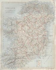 Historical map of Ireland c.1890