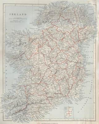 Historical map of Ireland c.1890
