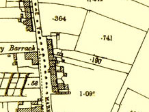 Map 1898. Detail, The Square, Oughterard