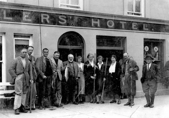 Anglers outside the Angler's Hotel, Main Street, Oughterard