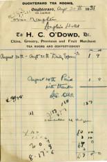 Receipt Oughterard Tea Room H.C.O'Dowd 1933