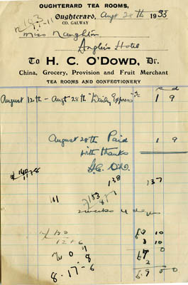 Receipt Oughterard Tea Room H.C.O'Dowd 1933