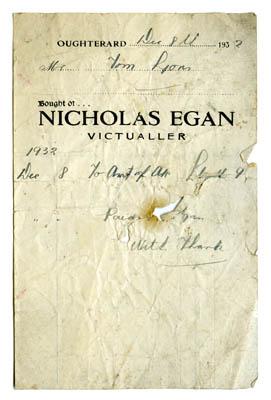 Shop receipt Nicholas Egan 1932. Thomas Lyons, Tullaboy