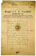 Shop receipt T.F.Talbot 1910. Thomas Lyons