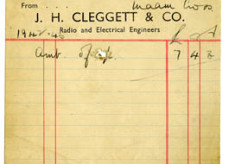 Shop Receipt J.H. Cleggett 1943. Thomas Lyons, Tullaboy
