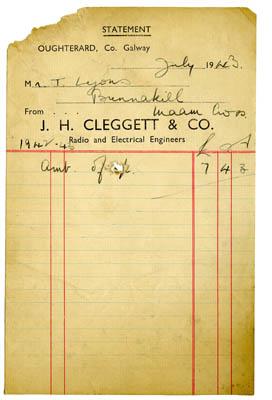 Shop Receipt J.H. Cleggett 1943. Thomas Lyons, Tullaboy