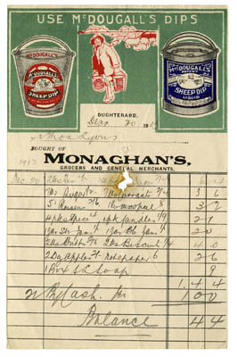 Shop receipt Monaghan's 1913. Thomas Lyons, Tullaboy