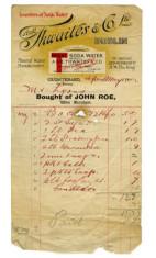 Shop receipt, John Roe. Thomas Lyons, Tullaboy