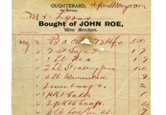 Shop receipt, John Roe. Thomas Lyons, Tullaboy
