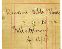 Shop receipt Patrick Kinneavy 1915. Thomas Lyons, Tullaboy