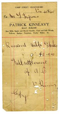 Shop receipt Patrick Kinneavy 1915. Thomas Lyons, Tullaboy