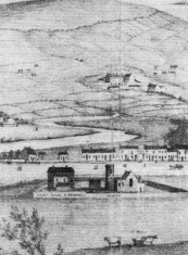 Scan detail of 17c. engraving, showing The Barracks in the background