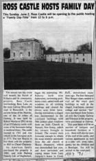 Press cutting 1991. Ross castle, Roscahill