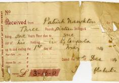 Rent Receipt Patrick Naughton, Glengowla 1914. J. O'Fflahertie